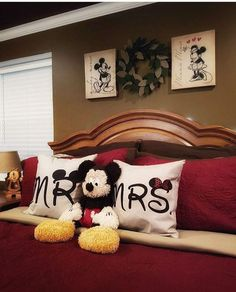 Cute for newlyweds, Disney home, decorating Disney, Mickey Mouse inspired decorating, Mickey pillows Apartment Bedroom Decor, Home Bedroom, Kids Bedroom, Master Bedrooms, Bedroom Ideas, Mickey Mouse Bedroom, Mickey Mouse House, Disney Princess Bedroom, Disney Bedrooms