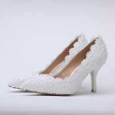 5e9cc5e2a78f Shoes Women s Shoes Pumps Wedding Shoes Elegant White lace flower Bridal  Shoes Pointed Toe High Heels large size 40 53-in Women s Pumps from Shoes  on ...