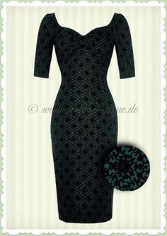 fe60e59aeb Collectif 40er Jahre Vintage Brocade Floral Kleid - Dolores Pencil - Grün