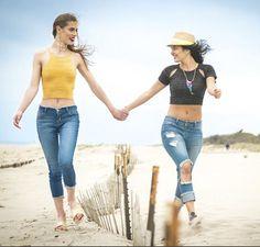 Girls just wanna have sun and a little fun!!☀️ #summer #beach #rippeddenim #croptop #croppeddenim #bestfriends #fashionable #smile #wewantyouinourpants #beachvibes #summeroutfit #beachday #style