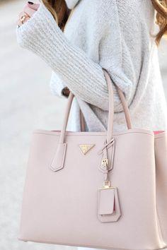 9eadf4ab4df7 Pink Prada Large Handbag with Jumper Spring Summer 2017 Pale nude looks