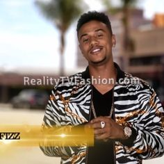 "Lil' Fizz's ""Green Screen/Confessional"" Interview Zebra & Chain Print Bomber Jacket #LHHHollywood"