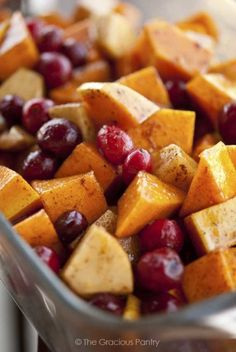 Clean Eating Holiday Butternut Cranberry Bake - made tonight without the cranberries. I recommend cutting the apple chunk a bit bigger since they shrink while in the oven.