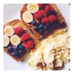 mmmm scrambled 's and ezekiel toast with pb and fruit #Padgram