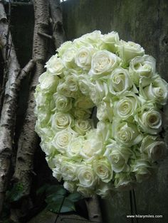 Pale green and so lush. Wreaths And Garlands, Door Wreaths, Floral Wreaths, Funeral Flowers, Wedding Flowers, Flower Decorations, Wedding Decorations, Sympathy Flowers, Rose Cottage