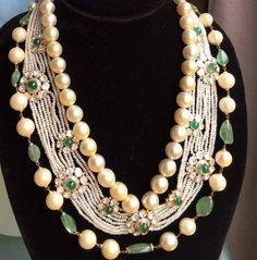 Pearl and Polki diamond jewelry #royaljewelry #bridal jewelry