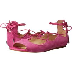 Sam Edelman Barbara (Hot Pink) Women's Dress Sandals (160 PEN) ❤ liked on Polyvore featuring shoes, sandals, pink, open toe sandals, hot pink shoes, dress sandals, pink flat shoes and hot pink flats