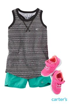 Play it cool! New active just arrived availabe up to size 8. Racerback tanks are made of active jersey that moves easily. Our active shorts feature a built-in panty and sporty fabric so she stays comfortable. Complete the look with active sneaks and ankle socks with non-skid soles. Shop this look and all Carter's new arrivals.