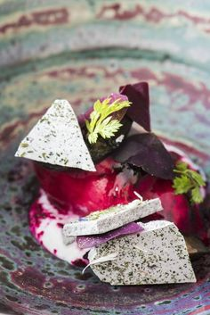 Beetroot sorbet, lavender mousse and black walnut