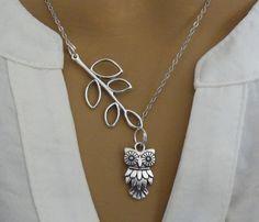 Antique Silver Leaf Owl Necklace