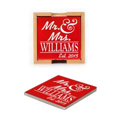 Ceramic Coasters (set of 4) - Mr & Mrs. Personalized with Est. Date and Double Lines