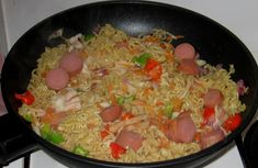 Indomie Noodles With Carrots, Sausages, Cabbage, Green peppers