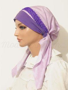 Pre-tied Headband Tichel Bandanna Snood Purple Floral Print Elastic Braided Trim