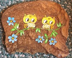 New Orleans Street Art Owls w/ Flowers Painted on Rock W Robert Anderson, Birds  | eBay