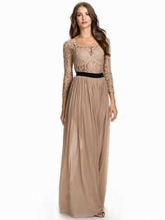 Metallic Lace Maxi Dress - Rare London - Nude/Black - Party Dresses - Clothing - Women - Nelly.com
