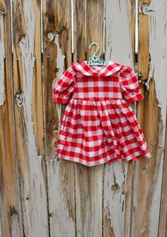 Vintage Red Gingham Kids Dress