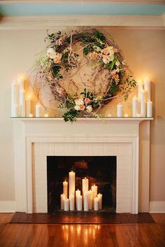Wedding from Kristyn Hogan + Cedarwood Weddings Gorgeous Ceremony Backdrop: Fireplace decorated with romantic candles and a beautiful wreath.Gorgeous Ceremony Backdrop: Fireplace decorated with romantic candles and a beautiful wreath. Christmas Fireplace Mantels, Candles In Fireplace, Fake Fireplace, Fireplace Ideas, Decorative Fireplace, Fireplace Design, Farmhouse Fireplace, Simple Fireplace, Fireplace Cover