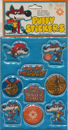 Puffy Stickers for 1984 Sarajevo Winter Olympic Games by The Pie Shops, via Flickr