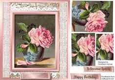 Lovely Pink rose in a Bowl Pyramid  on Craftsuprint - Add To Basket!