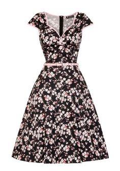 Cherry Blossom Isabella, musta 50-luvun mekko Miss Windy Shopista: www.misswindyshop.com #fiftarimekko #musta #kukkamekko #vaaleanpunainen