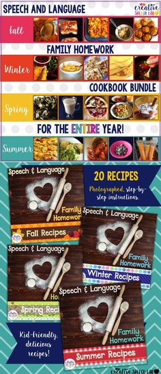 Need ideas to fill your Speech Therapy Homework Folder? Make homework meaningful and motivating with this No Prep Speech & Language Cookbook for the Entire Year!