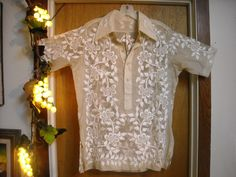Rare Vintage Hand Embroidered Philippine Barong Tagalog JUSI Silk Organdy  fabric Wedding Shirt Completely Hand embroidered. $150.00, via Etsy.