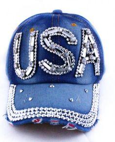 9659679644a USA bling hat. Denim Baseball Cap