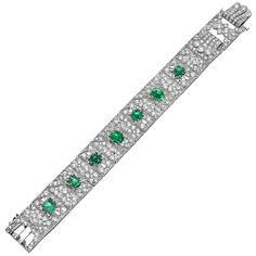 Art Deco J.E. Caldwell Emerald Diamond Bracelet | 1stdibs.com