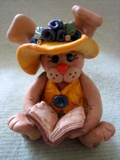polymer clay ~ Bunny Reading A Book.