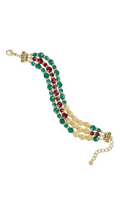"Jewelry Design - Triple-Strand Bracelet with Czech Crystal Beads, Gold-Plated Brass Beads and Gold-Finished ""Pewter"" Beads - Fire Mountain Gems and Beads"