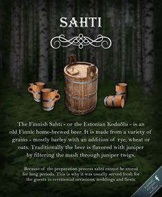 Finnish Sahti - or the Estonian Koduõlu or Taluõlu - is an old Finnic home-brewed beer. It is made from a variety of grains - mostly barley with an addition of rye, wheat or oats. Finnish Tattoo, History Of Finland, King Of Wands, Finnish Words, Finnish Language, Finnish Recipes, Home Brewing Beer, Helsinki, Ale