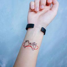 Pinky Promise Tattoo Blue Red Love 勾手指尾刺青紋身貼紙 BBF Pinky Finger Temporary Tattoo Friendship Best Friend Besties HK Hong Kong Tatouage Tatti Tatto Tatoo Taiwan
