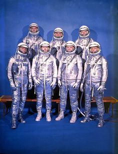 Mercury Seven Astronauts    The Original Seven Mercury Astronauts:  Back Row - Alan Shepard, Gus Grissom, Gordon Cooper  Front Row - Wally Shirra, Deke Slayton, John Glenn, Scott Carpenter