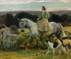 girl horse & dog - Sir Alfred Munnings portrait of Lady munnings riding on Exmoor Greyhound Kunst, Alfred Munnings, Equestrian Decor, Horse Drawings, Art Uk, Equine Art, Sports Art, Horse Art, Beautiful Artwork
