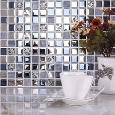 Blue Silver Wall Tile Blend Metal and Glass Stainless Steel Mosaic Floor Backsplash Kitchen Tiles [DGWH055] - $22.32 : DecorGenius.com
