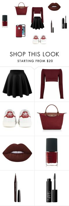 """back to school 3"" by lamisslove on Polyvore featuring mode, Glamorous, adidas, Longchamp, Lime Crime, NARS Cosmetics et Marc Jacobs"
