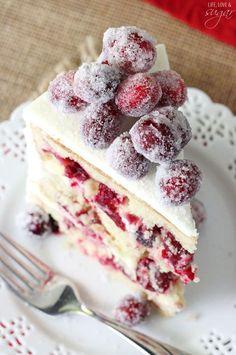 Super moist vanilla cake full of fresh cranberries & white chocolate.