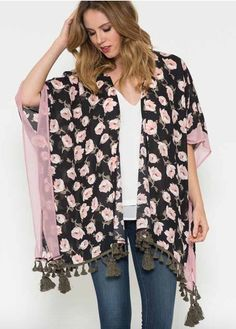 Rose Pink Floral Kimono {$42, FREE SHIPPING on all orders over $50.}