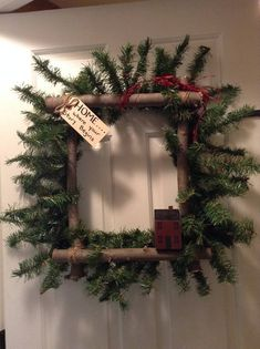 Wonderful Holiday Square Wreath Square Twig Wreath Dried Flower | Front Door Wreaths  | Pinterest | Square Wreath, Wreaths And Squares