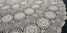 Crochet Round, Hand Crochet, Large Round Table, Light Colors, Colours, Vintage Cross Stitches, Round Tablecloth, Embroidered Flowers