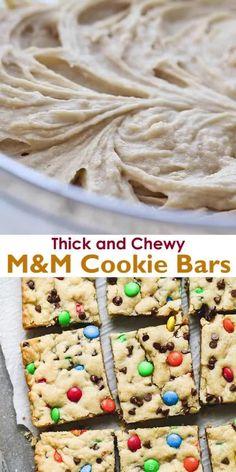 M&m Cookie Recipe, Cookie Recipes, M&m Bars Recipe, Dessert Recipes, M&m Recipe, Delicious Deserts, Yummy Food, Delicious Cookies, Fun Baking Recipes