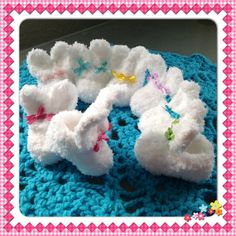 Fluffy Bunny Rabbit Slipper Style Baby Booties by OnceUponACraft4U, $24.95