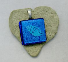 Fused Dichroic Glass Pendant  Sea Shell Pendant by Chris1 on Etsy, $20.00