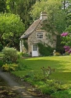 english storybook stone cottage