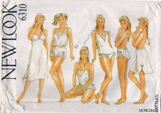 New Look 6310 1980s Misses LINGERIE Full and Half Slip  Teddy French Knickers Panties Camisole Bodysuit womens vintage sewing pattern by mbchills, $22.00