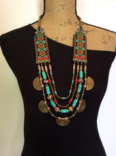 Beaded Necklace with Turquoise Red Coral African by perlinibella