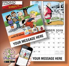 2021 Dennis the Menace Art Calendars - low as Business Promotional calendars, Advertise in the homes and offices of people in your area all year! Wall Calendars, Art Calendar, Dennis The Menace Comic, Advertising, Jokes, Hands, Messages, App, Marketing