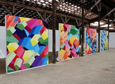 I love these geometric shape paintings. Imagine walking into a church with these all around.