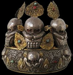 Ritual Silver & Gilt Five Skull Oracle's Crown Tibet 20th century