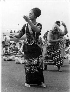 Miss American Samoa 1970, Sinatoga Tu'ufuli (now Sinatoga Moliga), dances for the Apollo 13 Astronauts. (A.A.P. Photograph PH-91-ee courtesy Jean P. Haydon Museum, Fagatogo, American Samoa)